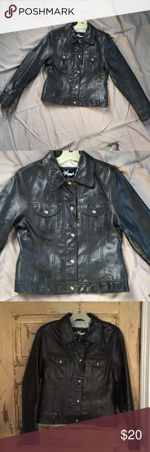 Wilson's Black Leather Snap Front Coat Black leather