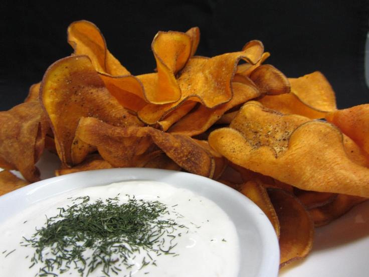 Sweet Potato Chips and Garlic Dip   Visit us at 9380 Highway 97 North, Vernon BC or call us at (250) 542 - 2178.
