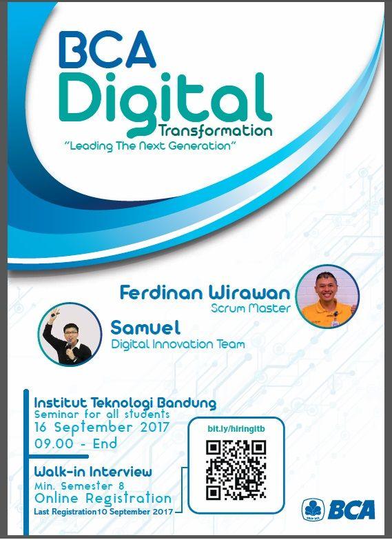 "JOIN! BCA Digital Transformation ""Leading The Next Generation"" Seminar & Walk-In Interview | 16th September | Info >> http://bit.ly/2x8TboJ"
