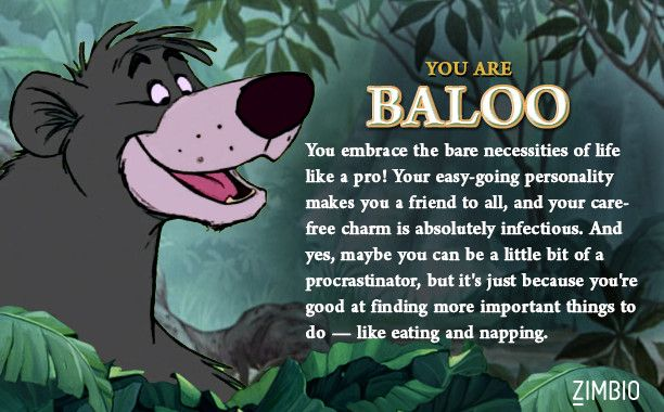 Which Jungle Book character are you quiz // I'm Baloo, whas up.
