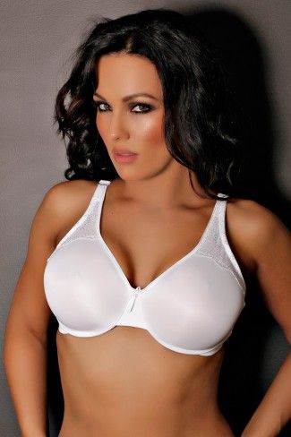 Minimizer Bra with Lace Trim in White