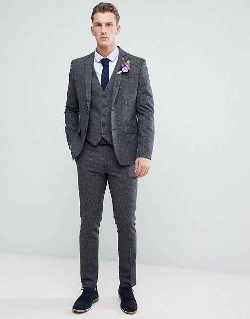 54ec0695571 ASOS Farah Winter Wedding Skinny Suit In Fleck winter wedding 3 piece  charcoal grey suit