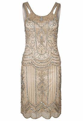 Nude Beige Sequin Charleston Flapper UK 10 12 14 Gatsby Dress 1920's Art Deco | eBay