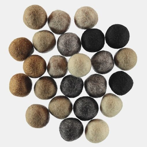 Felt balls 20mm nature 8x3pcs ass colors