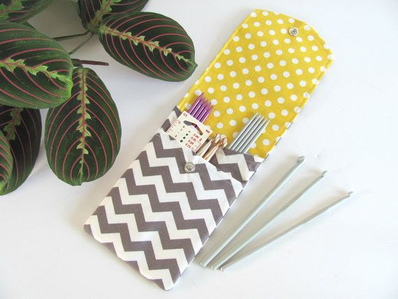Knitting Needle Case Notions Pouch Crochet Hooks Case