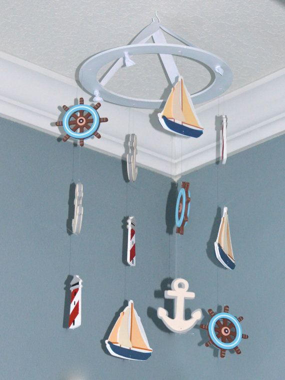 Nautical Nursery Mobile Wooden Baby- Sailboat Anchor Lighthouse Wheel, FlutterBunnyBoutique