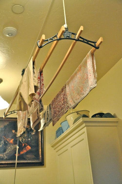 vintage style drying rack...note the pulley system