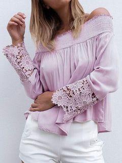 Blusa de Chiffon roxo laço em cima ombro manga longa Shirred chique