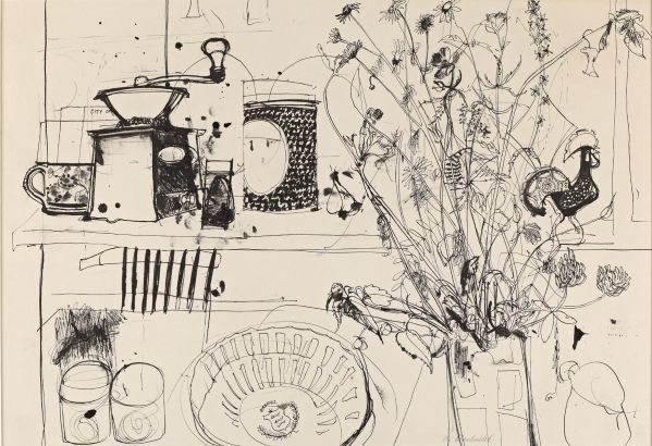 ELIZABETH BLACKADDER - Still Life with Coffee Grinder, ink on paper, 13 2/2 x 20