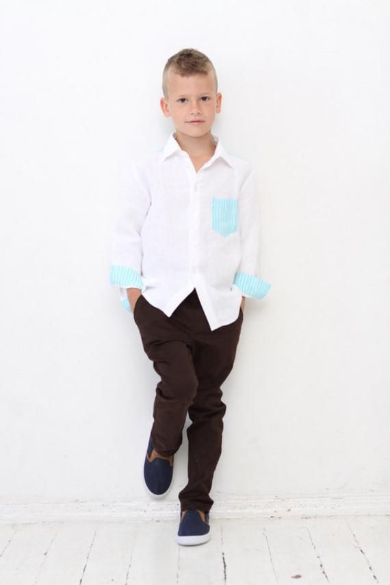 Boys Dress Shirt Solid Long Sleeve Toddler Kids Children Formal Party Size 2T-7