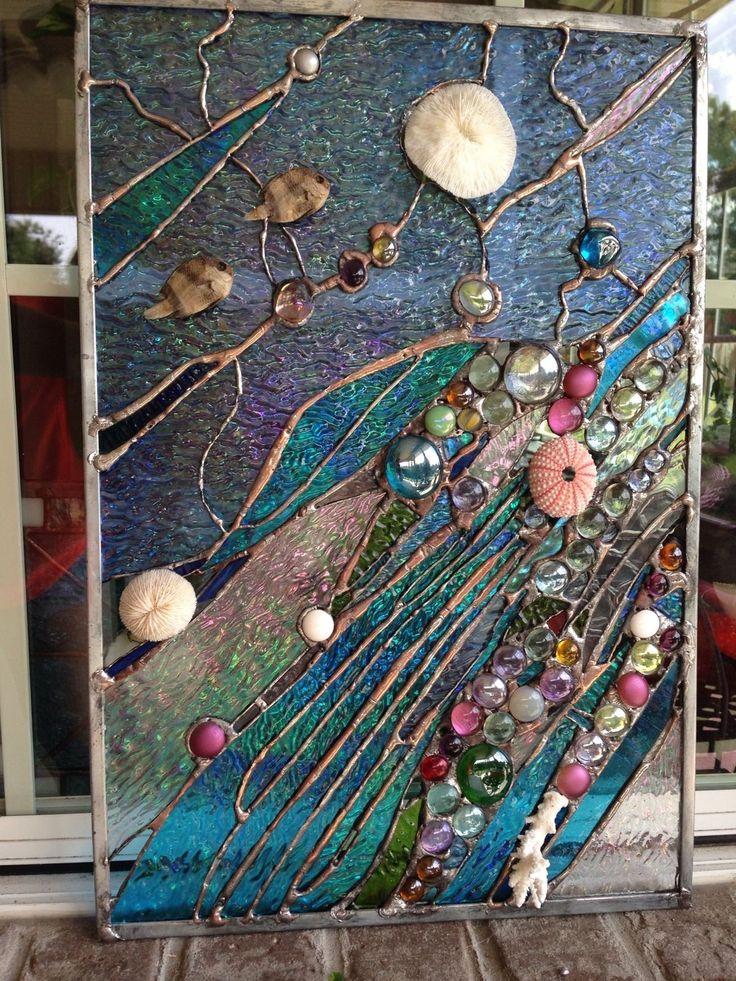 Stained Glass Window Tropical Fish Sea Shell Sailboat Suncatcher Ocean Panel   eBay