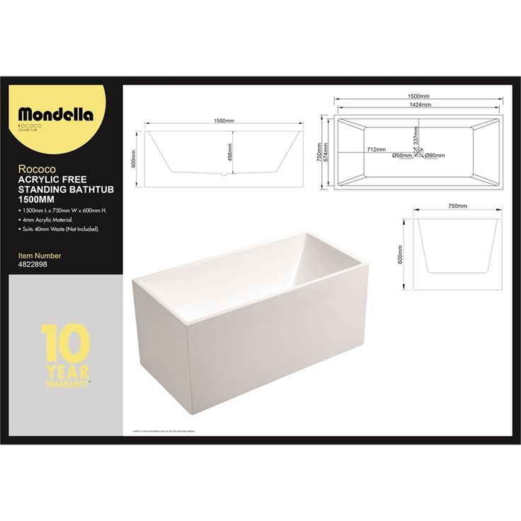 Mondella 1500 x 750 x 600mm Rococo Square Edge Freestanding Bath at Bunnings Warehouse. Visit your local store for the widest range of bathroom & plumbing products.
