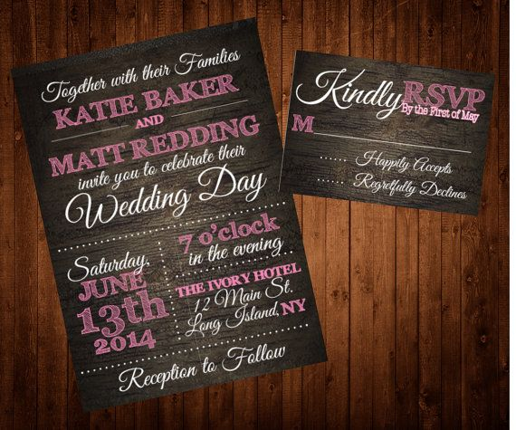 Rustic Wood Wedding Invitation and RSVP Set. Perfect for a country wedding!
