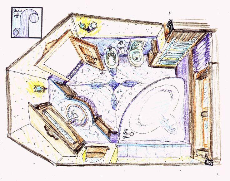 ArredoStudio2effe: bozza prospettica di minibagno in mansarda