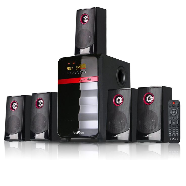 """beFree SoundBFS-510 5.1 Channel Surround Sound Bluetooth Speaker System - Red. When you need both audio performance and installation flexibility, beFree Sound is the best choice. This speaker comes equipped with surround-sound and a powered amplifier. This system has an easy-to-live-with form factor that works in any living and listening environment. 5.25"""" amplifier x1 + 3"""" speakers x5. Remote control included."""