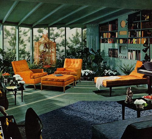 orange and teal + blue and black + seating arrangement with 2 armchairs and square ottoman
