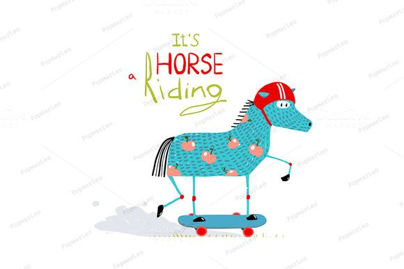 Cartoon Horse on Skateboard for Kids by Popmarleo Shop on @creativemarket