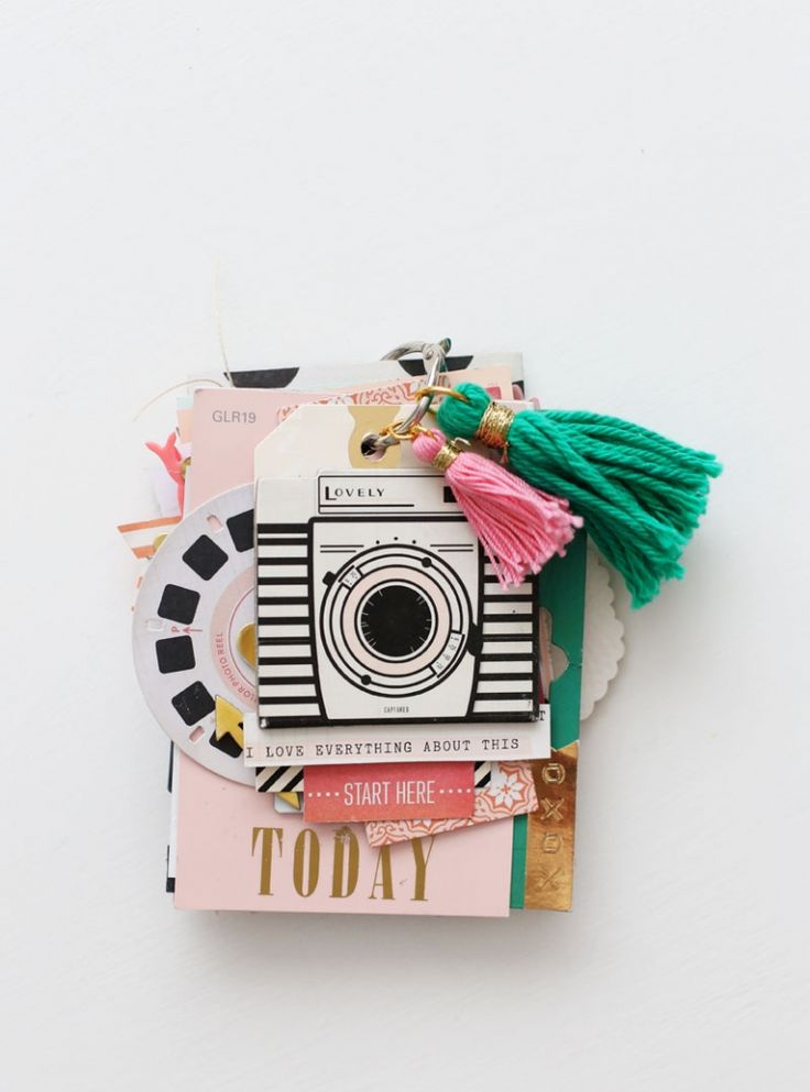 """Paint Swatch Mini Album by Maggie Holmes Design. Inspirational tiny scrapbook. Maybe for times you don't have time OR if you have an """"Instapix"""" camera."""