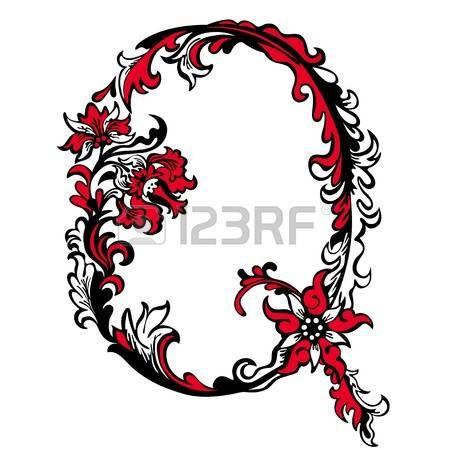 Lettera Q iniziale su uno sfondo bianco pattern di sfondo floreale astratto Vettoriali