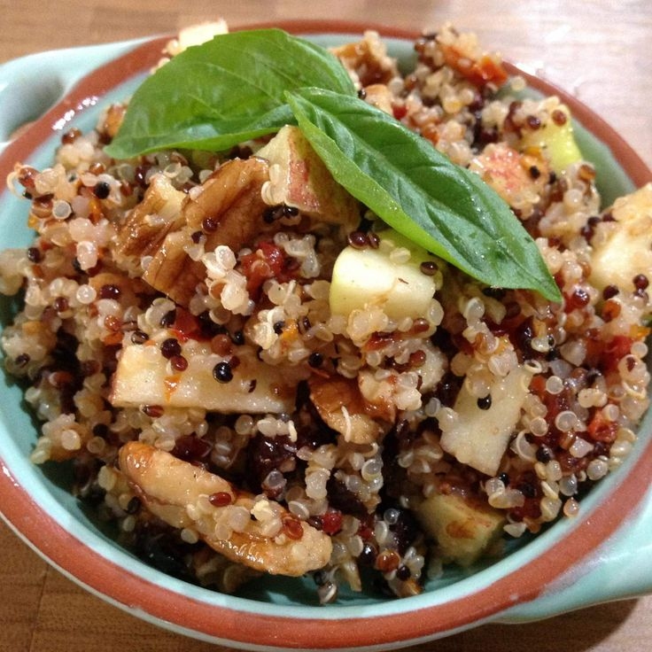Quinoa, Apple & Cranberry Salad with Maple Dressing - didn't need the dressing and used macadamia's instead of pecans