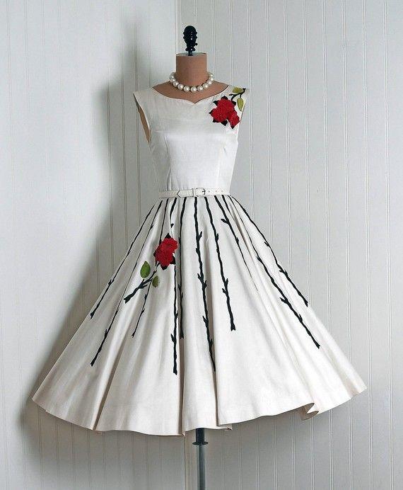 1950's Vintage Elegant IvoryCreme Flocked by Natlynn (found in TimelessVixenVintage on Etsy)