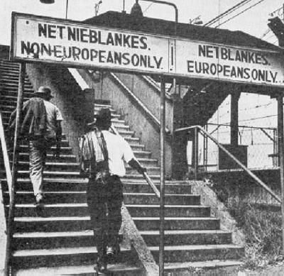 Mrs. Salvato posted this picture from Africa during Apartheid to show the real effects it had. Native black Africans could not even use the same stairs as the white African settlers. It is a great representation of the apartheid practices The Power of One condemns as wrong and evil.