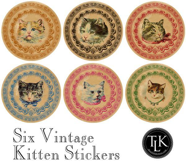 DGD – Digital Goodie Day – Vintage Kitten Sticker #2
