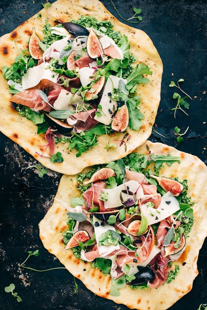 The great thing about this flatbread dish is that you can diversify it from season to season. For fall, we used an arugula sage pesto as the base, and topped it with fresh figs, prosciutto, fresh arugula, parm and herbs to give it a true fall flair.