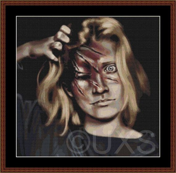 See No Evil horror nightmare counted cross by UnconventionalX, $15.00