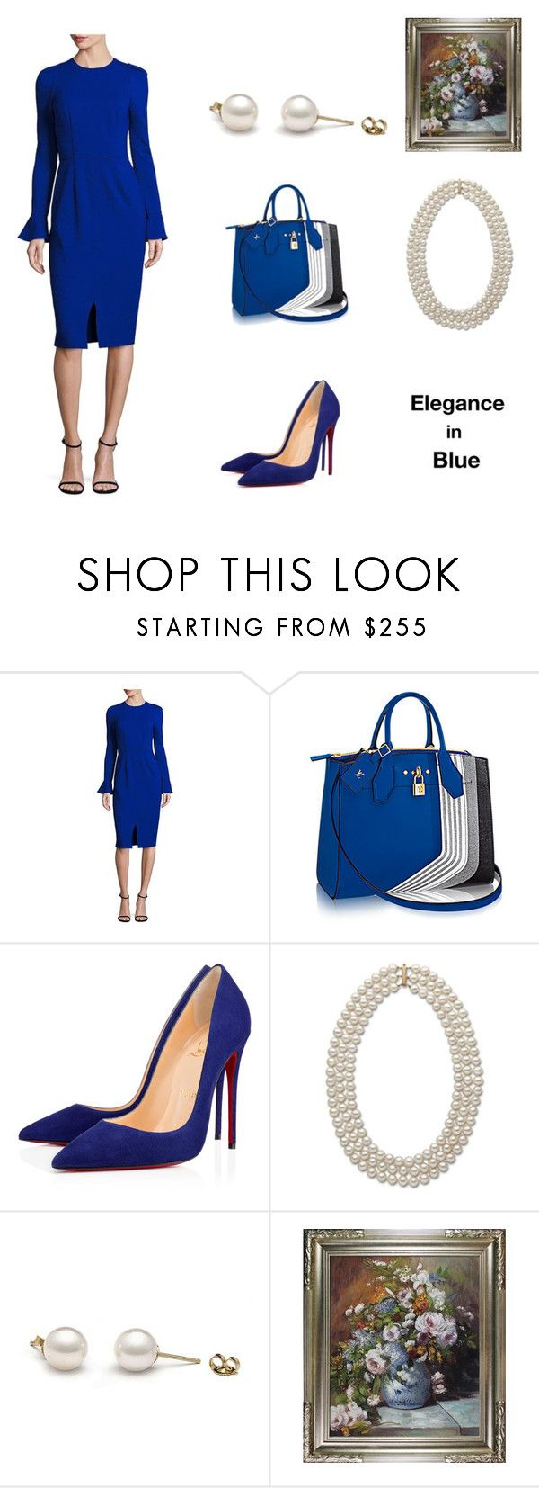 """""""Elegance in Blue (contest)"""" by scolab ❤ liked on Polyvore featuring David Meister and Christian Louboutin"""