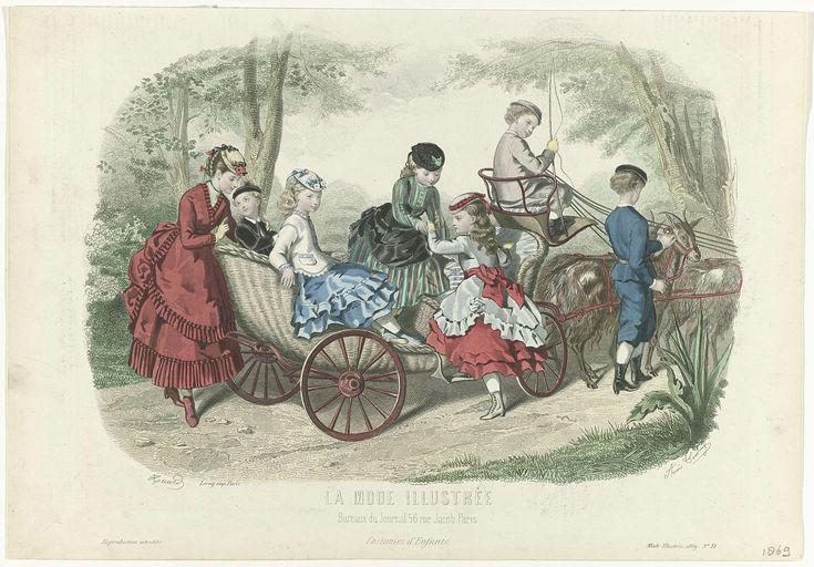 Huard | La Mode Illustrée 1869, No. 18 : Costumes d'Enfants, Huard, Leroy, 1869 | Kinderkleding. Een groep kinderen in en rondom een bokkenwagen. Een meisje helpt een ander meisje met in de wagen te stappen. Op de koetsiersbank zit een jongen met zweep. Deze afbeelding is afgedrukt met twee verschillende platen. Er zijn kleine verschillen te zien bij de bosjes achter het staande meisje in de kar en achter het meisje in de rode japon. Prent uit het modetijdschrift La Mode Illustrée…