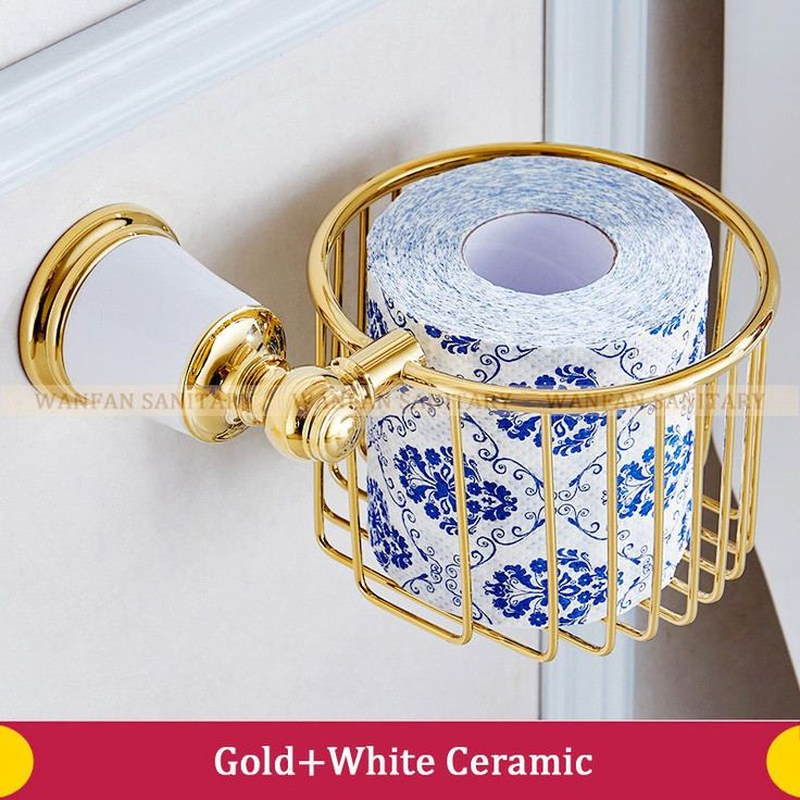 Free Shipping High-Grade Golden Bathroom Ceramic Style New Bathroom Toilet Roll Paper Basket Wall Mounted Paper Holder 87316