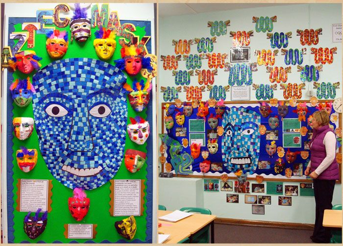 Mrs Morgan proudly shows us a small part of Year 5's Aztec displays