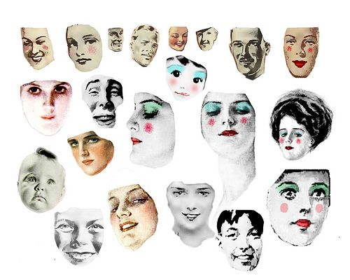 Digital Collage Sheet - Faces #1 - FREE TO USE by fidgetrainbowtree, via Flickr