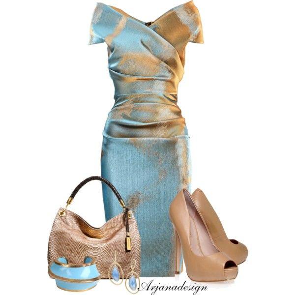 Talbot Runhof Bronze Turquoise Dress, created by arjanadesign on Polyvore
