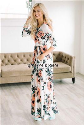 8767fcaa5d70 White Spring Floral Maxi Modest Dress