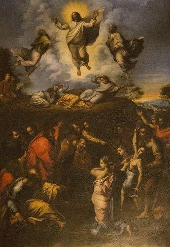 Kirkastussunnuntai. Tuntematon emilialaisen tekijän tekemä kopio Raffaellon teoksesta Jeesuksen kirkastuminen, 1600-luku. Palazzo Spinola, Genova, Italia.