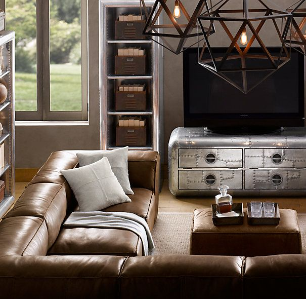 leather sectional sofa restoration hardware chester piel fulham customizable for the home pinterest living room and
