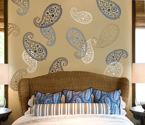 Great paisley stencil and love the blue and tan color for the bedroom