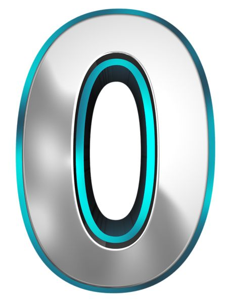 Metallic and Blue Number Zero PNG Clipart Image