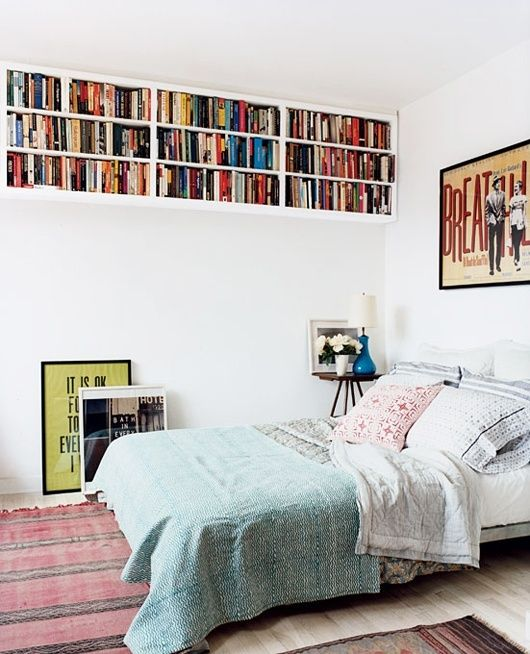 bookshelves up by the ceiling
