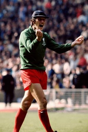 May 1971 and Clemence celebrates as Steve Heighways goal in the first minute of extra time puts Liverpool in front against Arsenal in the FA Cup final at Wembley