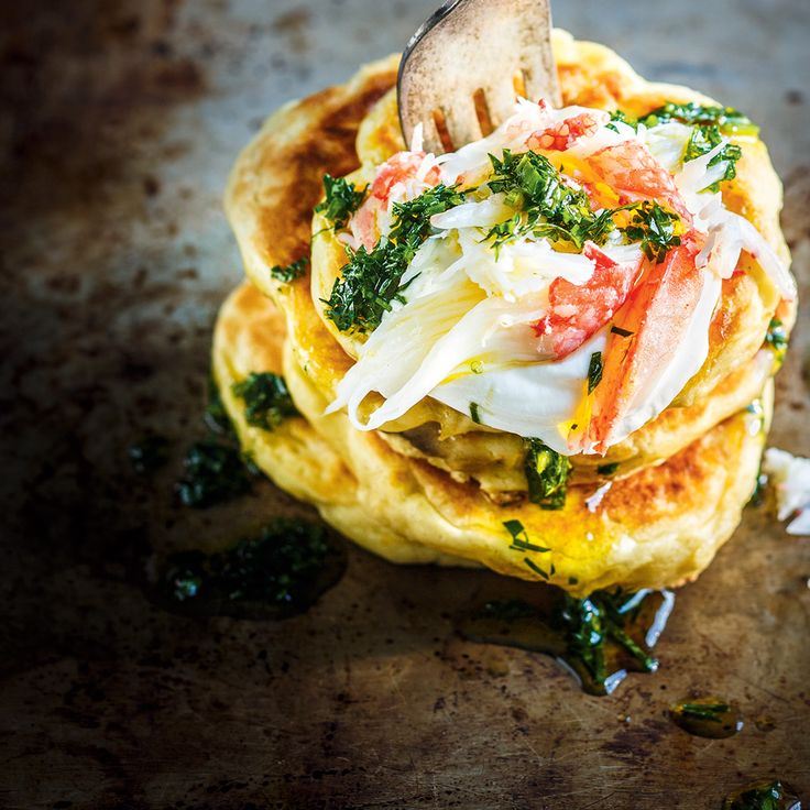 Parsnip Pancakes with Crab and Salsa Verde