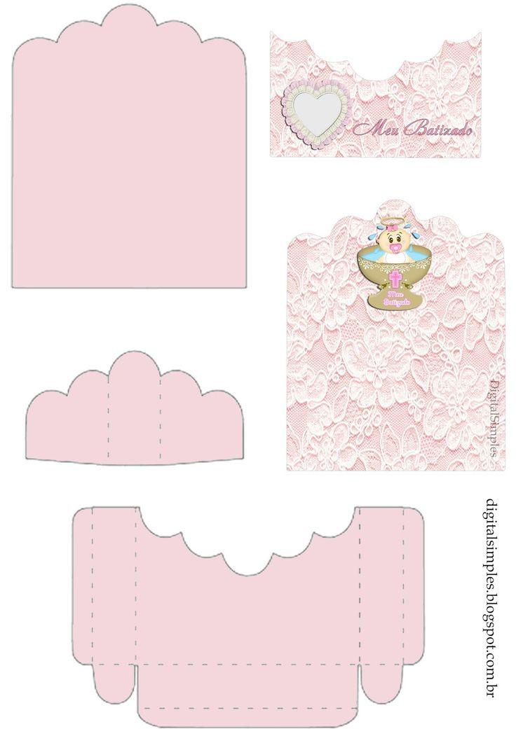 Kit Digital, personalizado para Batizado de Menina, Renda cor de Rosa, rótulos batizado menina.