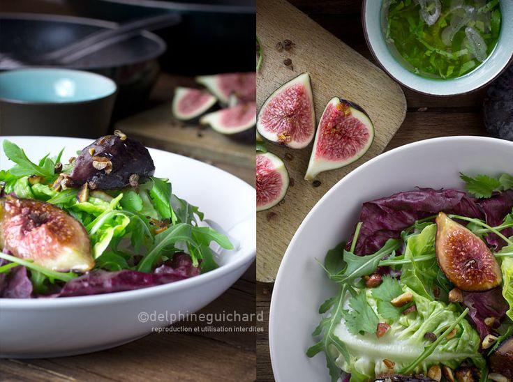 Figues fraîches et rôties en salade, cacahuètes grillées, vinaigrette gingembre/échalote, et senteurs de coriandre.