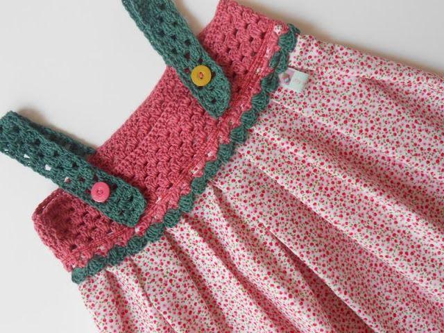 vestidos de niña de tela y crochet