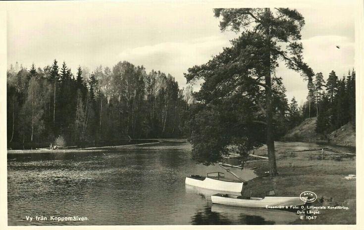 Värmland Eda kommun Koppom Järnskog vy från Koppomälven  Utg O. Lilljeqvists konstförlag Dals Långed 1930-tal
