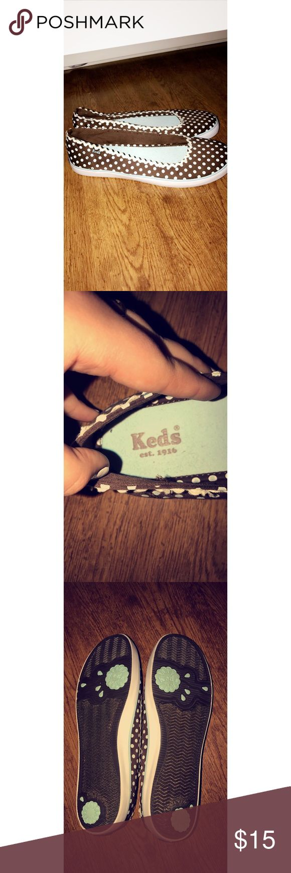 KEDS slip ons Brown and green polka dot KEDS! Size 9. Keds Shoes Flats & Loafers