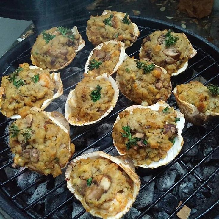 This is the REAL DEAL in Grilling! Grab your favorite beverage & enjoy! CHEERS! : from Certified Grill Lover @itaintyouitsme -  These delicious treats make a great appetizer. Recipe: Stove Top Stuffing, Cook and let cool, Raw shrimp peeled, dice up raw shrimp, season with old bay, add to Stuffing, top with fresh parsley, diced portobello mushrooms, place in sea shells if you have some, (If you don't have sea shells just do them in a small aluminum pan like you're making corn bread St...