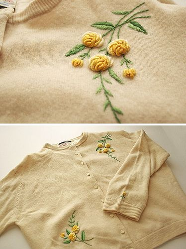 A thrifted cardigan with two very intriguing floral motifs. I wonder how those flowers are done! via Casey's Elegant Musings.